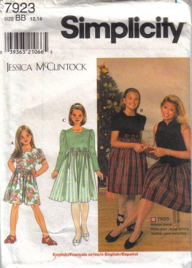 7923 Simplicity Jessica McClintock Girls Dresses