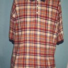 Mens Dockers Red-Yellow & Blue Plaid Long Polo Shirt-XL