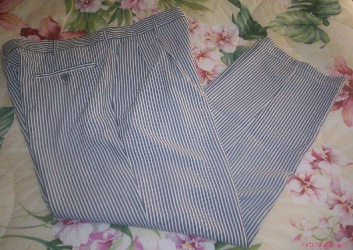 Mens Vintage Golf~Hippy  Grey Pin-Striped Pants 34