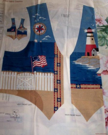 Womens Nautical-Lighthouse Theme Vest Sewing Panel-XS-L
