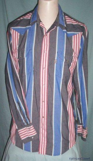 Mens Cowboy Turtle Long Sleeve Striped Western Shirt~M