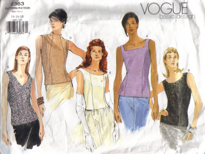 2363 Vogue Basic Pattern-Misses Lined Sleeveless Tops 8-18