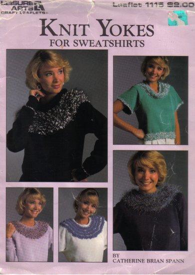 1987 Leisure Arts Knit Yokes For Sweatshirts