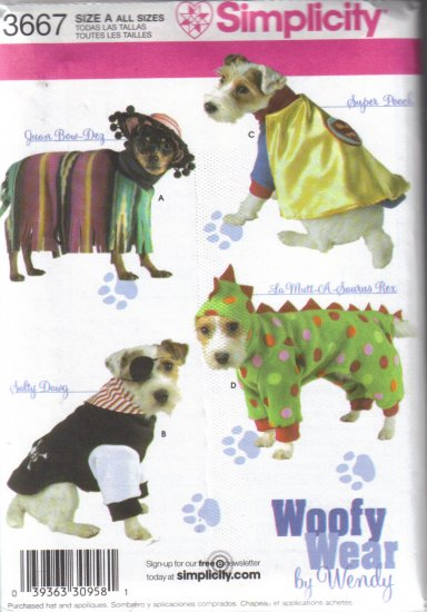 3667 Simplicity Dog Clothes Woofy Wear All Sizes