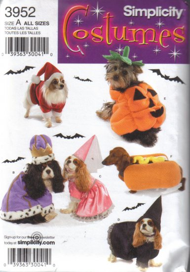 3952 Simplicity Costumes for Dogs 2 Sizes