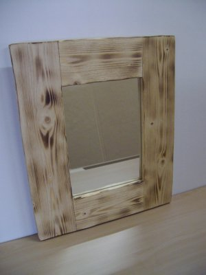 "Wall Mirror-Pine Wooden Frame with Scorched Sandblasted Finish-17 1/2"" x 14 1/2"" (445mm x 375mm)"