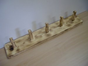 """Coat Hanger-Coat Rail with Wooden Pegs-Scorched Wood and Sandblasted Finish-20"""" X 3 1/2"""""""