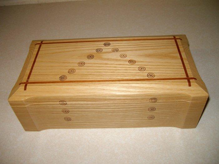 Jewelry Box - Ash with Mahogany Inlay - Cedar Lined - Decorated