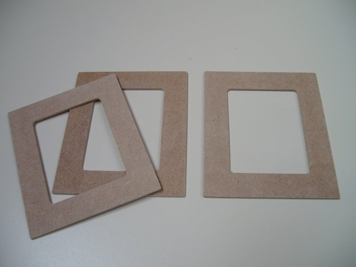 """Picture Frames Rectangular x 3-MDF-Ready to Paint-Unfinished-6"""" x 5"""" x 1/8"""" (152mm x 127mm x 3mm)"""