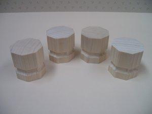 "Cabinet Feet / Legs - Bun - Octagon Shape - 2"" x 1 3/4"" x 1 3/4"" thick  ( 50mm x 45mm x 45mm )"