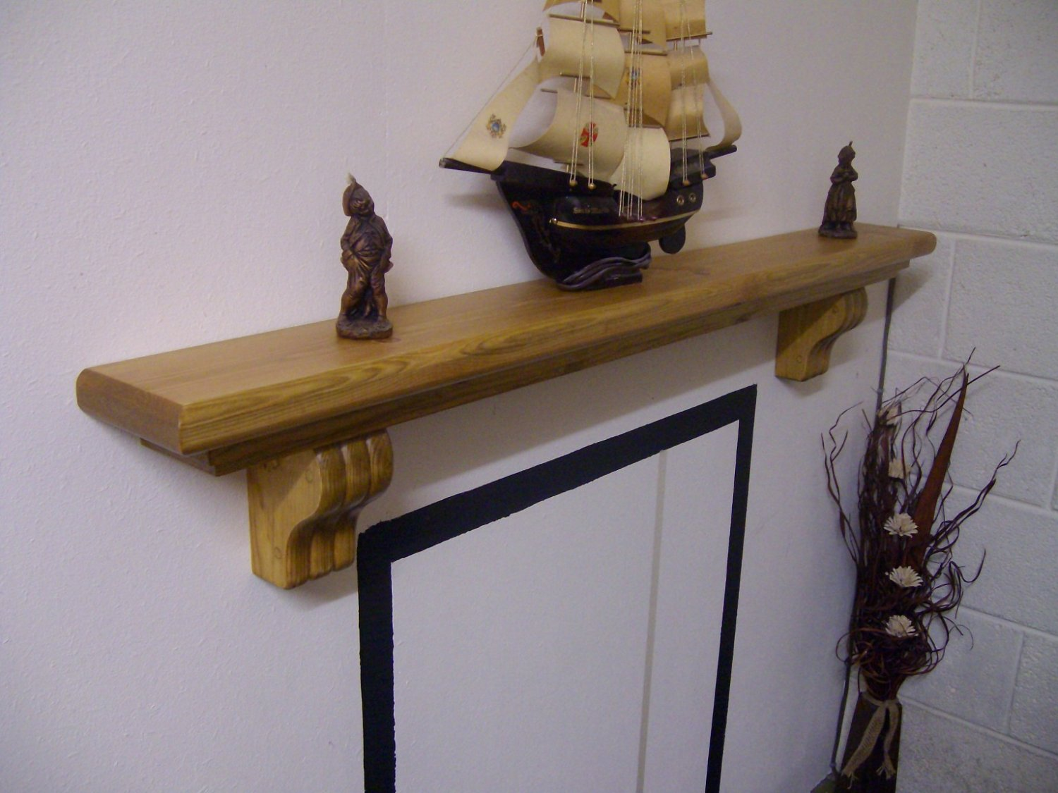 "Mantel Shelf-Corbels-Stove Shelf-Pine-Rustic Mantle-54"" x 5 3/4"" x 2 3/4"" (1370mm x 145mm x 70mm)"