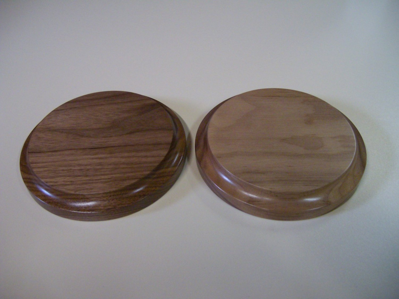 "Walnut Base-Round Walnut Base-Trophy Base-Wooden Base- 5 3/4"" x 7/8"" (146mm x 23mm )"