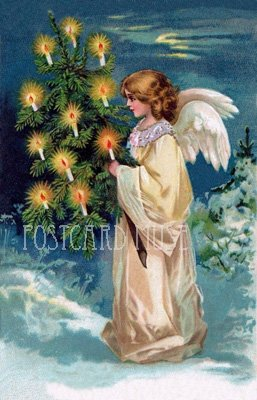 ANGEL WITH A CHRISTMAS TREE Antique Postcard Reproduction