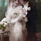 ELEGANT WEDDING COUPLE Antique Photo Postcard Reproduction