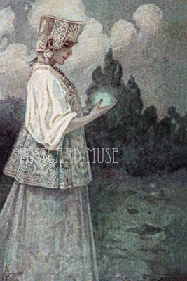 RUSSIAN MAIDEN WITH A GLOW WARM Antique Postcard Reproduction