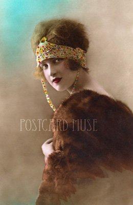 FLAPPER, BEADED HEADBAND Antique Photo Postcard Reproduction