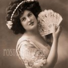 ELEGANT LADY WITH A FAN Antique Photo Postcard Reproduction