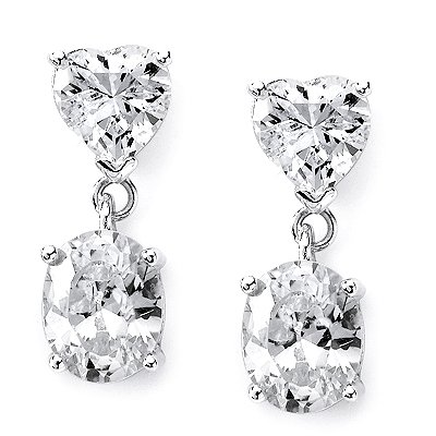 Beautiful Bridal Drop Earrings With Heart Shape And Oval Cz's