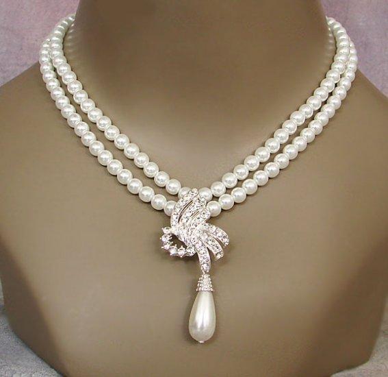 New Beautiful Bride Faux Pearl Necklace-earrings Set