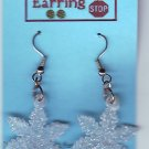 Dangle Earrings WHITE SNOWFLAKE Handmade  #H018