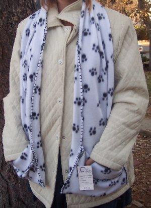 Handwarmer Pocket Scarf Black and White Dog PAW Design Fleece Winter S2009702