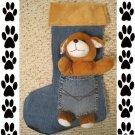 Stuffed Dog Pet Christmas Stocking Handmade 200916