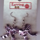 Lavendar Ribbon Bow Dangle Earrings Handmade  H008