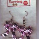 Pink Ribbon Bow Dangle Earrings Handmade  H011