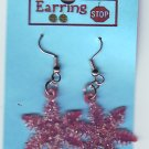 Red SNOWFLAKE Earrings Dangle Handmade  H014