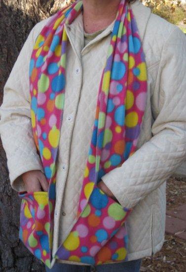 Colorful Polka Dot Circles Pocket Handwarmer Winter Scarf