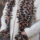 Leopard Design Handwarmer Pocket Winter Scarf Tied Edges Fleece Neck 64 x 9 S2009726