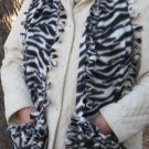Zebra Design Handwarmer Pocket Winter Scarf Tied Edges Fleece Neck 67 x 12 S2009727