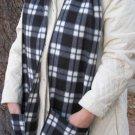 Long Tall Black White Plaid Handwarmer Pocket Winter Scarf Design Fleece Neck 76 x 9 S2009734
