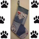 Dog Lover Denim Christmas Stocking Handmade Recycled One of a Kind 200912