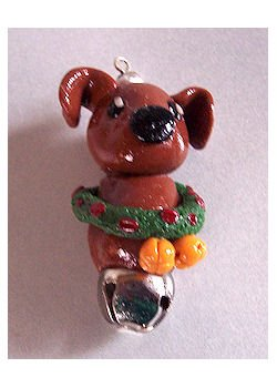 Adorable Polymer Holiday DOG with Bell Necklace or Ornament #2010042