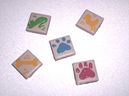 5 pack Painted Ceramic TILE MAGNETS Pet designs 1 inch Refrigerator magnets 2010070