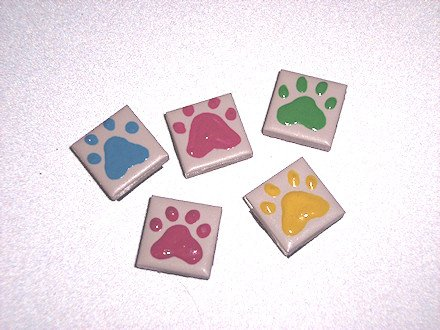 5 pack   TILE MAGNETS Ceramic PAW PRINT Painted Pet designs 1 inch Refrigerator magnets 2010071