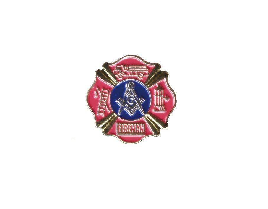 MASONIC FIREMAN LAPEL PIN/TIE TACK,FIRE DEPT MASONS-EXC
