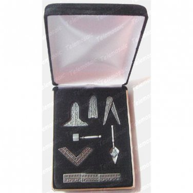 "MASONS~MASONIC""WORKING TOOLS""DESK GIFT SET+VELVET BOX! FREE MASON FREEMASON LOGO"