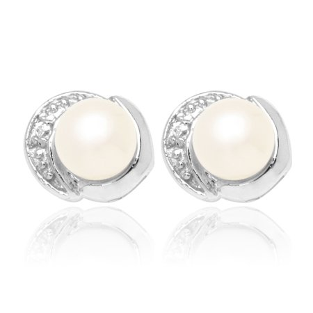 Classy Pearl and CZ Earring