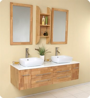 Bellezza Natural Double Bathroom Vanity, Double Vanity Sink, Double Sink Vanity