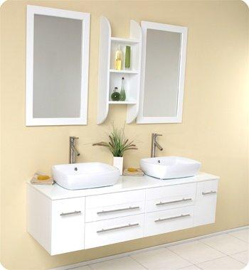 Bellezza White Double Bathroom Vanity, Double Vanity Sink, Double Sink Vanity