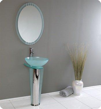 Vitale Glass Bathroom Vanity, Vanity Sink, Sink Vanities w/ Frosted Edge Mirror