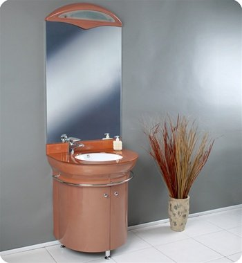"Calmo 28"" Orange Bathroom Vanity, Vanity Sink, Sink Vanities w/ Glass Countertop"