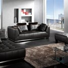 Black 3 pc. Modern Contemporary Leather Sofa Set, Modern Design Furniture