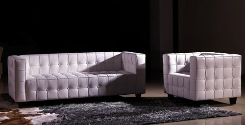 White Modern Contemporary Buttoned Leather Sofa Set, Modern Design Furniture
