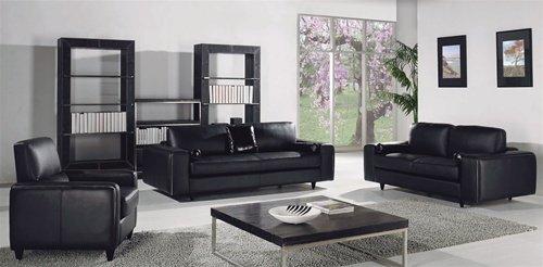 Black Modern Contemporary 3 pc. Italian Leather Sofa Set, Modern Design Furniture