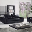 Black Modern Contemporary 3 pc. Italian Leather Sofa Set, Modern Design Furniture