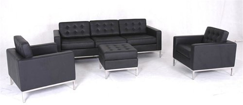 Black Designer Modern Contemporary 4 pc. Italian Leather Sofa Set, Modern Design Furniture