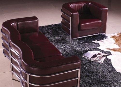 Maroon w/ Chrome Modern Contemporary Italian Leather Sofa Set, Modern Design Furniture